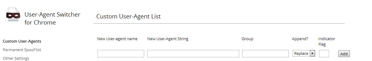 User Agent Switcher Settings
